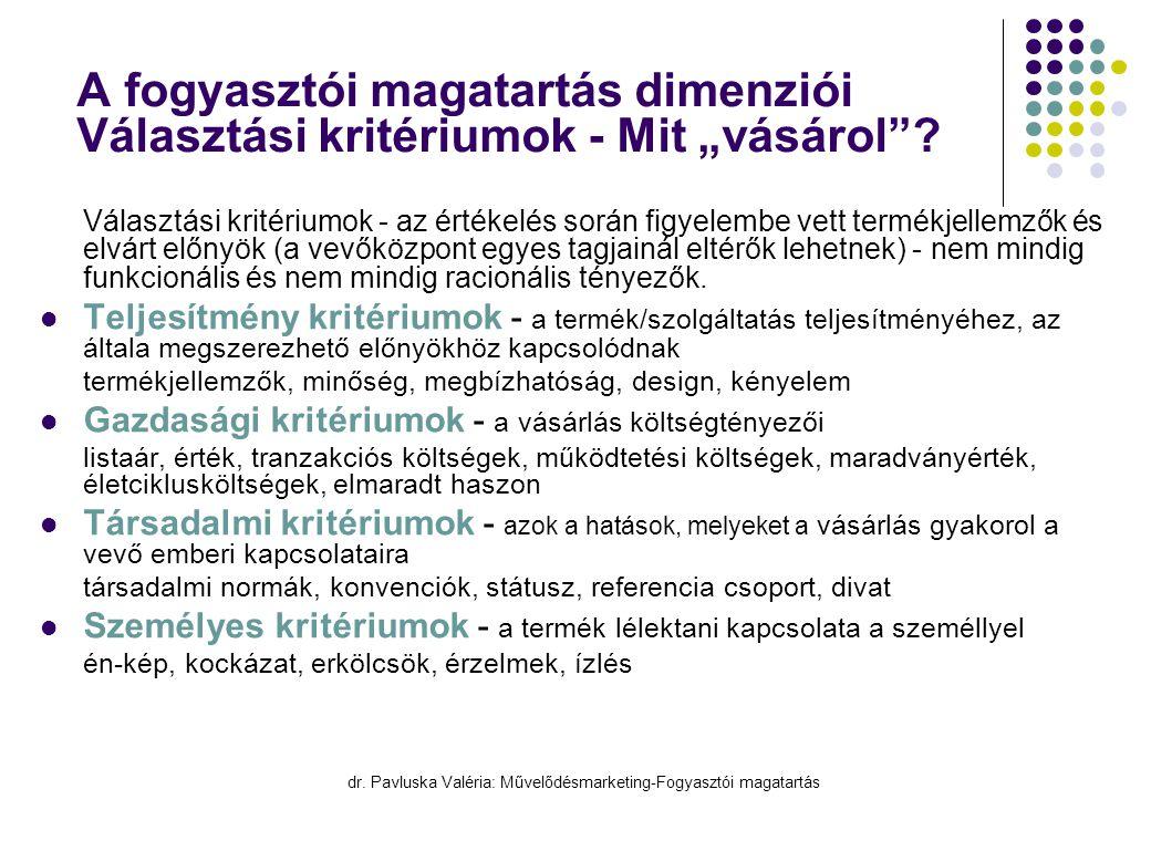 """dr. Pavluska Valéria: Művelődésmarketing-Fogyasztói magatartás A fogyasztói magatartás dimenziói Választási kritériumok - Mit """"vásárol""""?  Választási"""