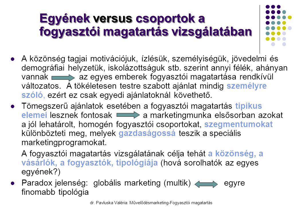 dr. Pavluska Valéria: Művelődésmarketing-Fogyasztói magatartás Egyének versus csoportok a fogyasztói magatartás vizsgálatában  A közönség tagjai moti