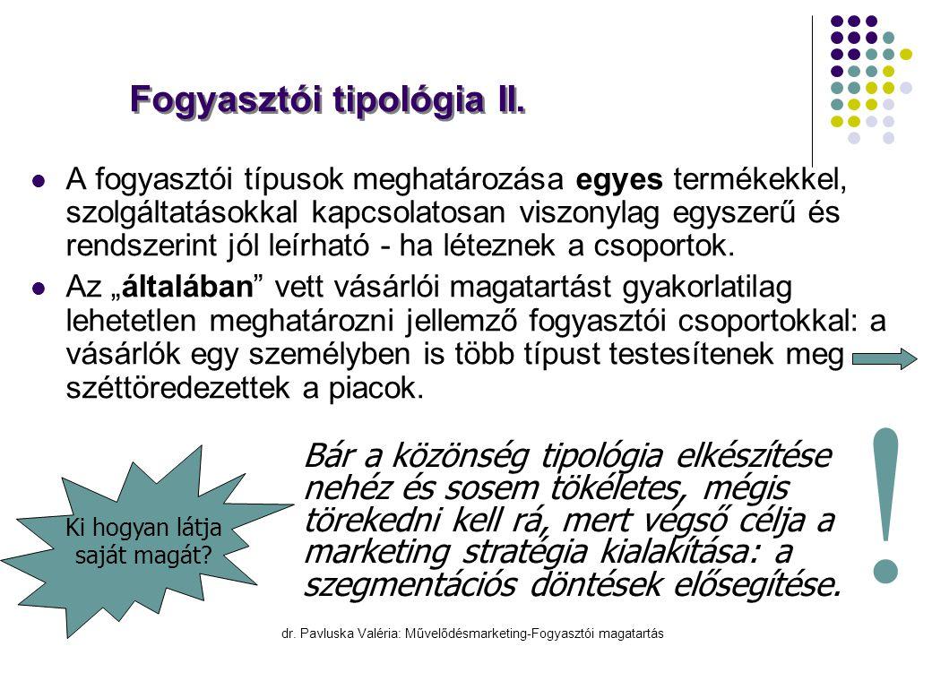 dr. Pavluska Valéria: Művelődésmarketing-Fogyasztói magatartás Fogyasztói tipológia II.  A fogyasztói típusok meghatározása egyes termékekkel, szolgá