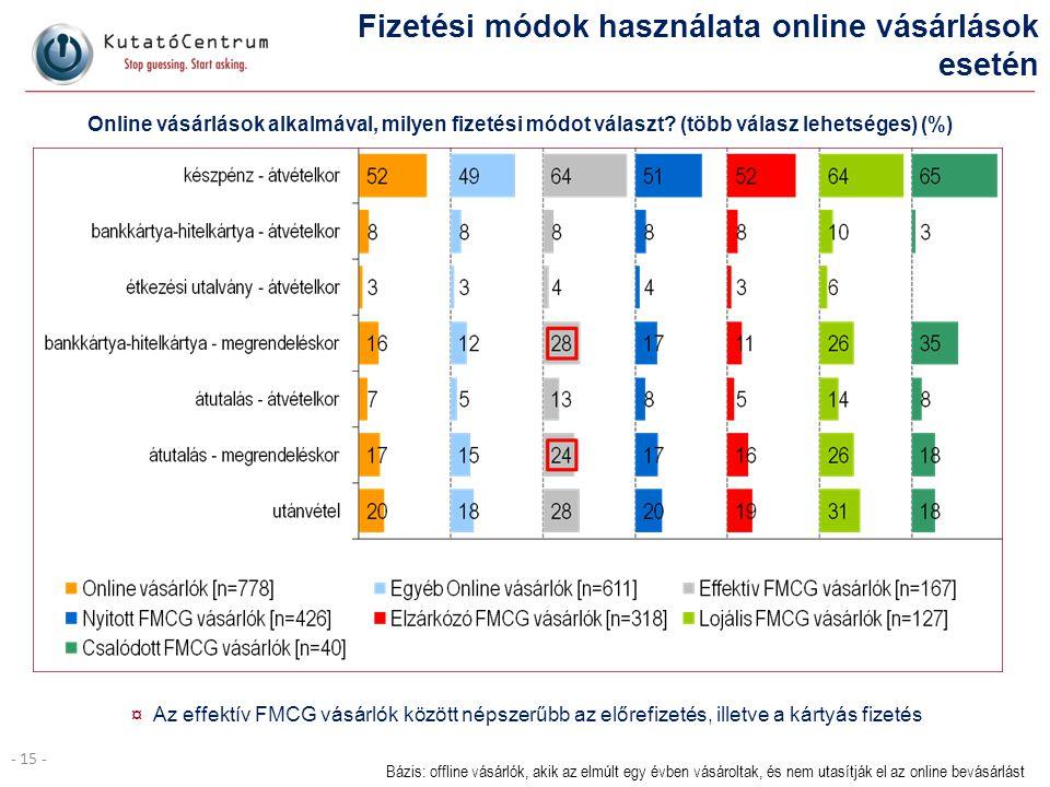 - 15 - Fizetési módok használata online vásárlások esetén ¤ Az effektív FMCG vásárlók között népszerűbb az előrefizetés, illetve a kártyás fizetés Báz
