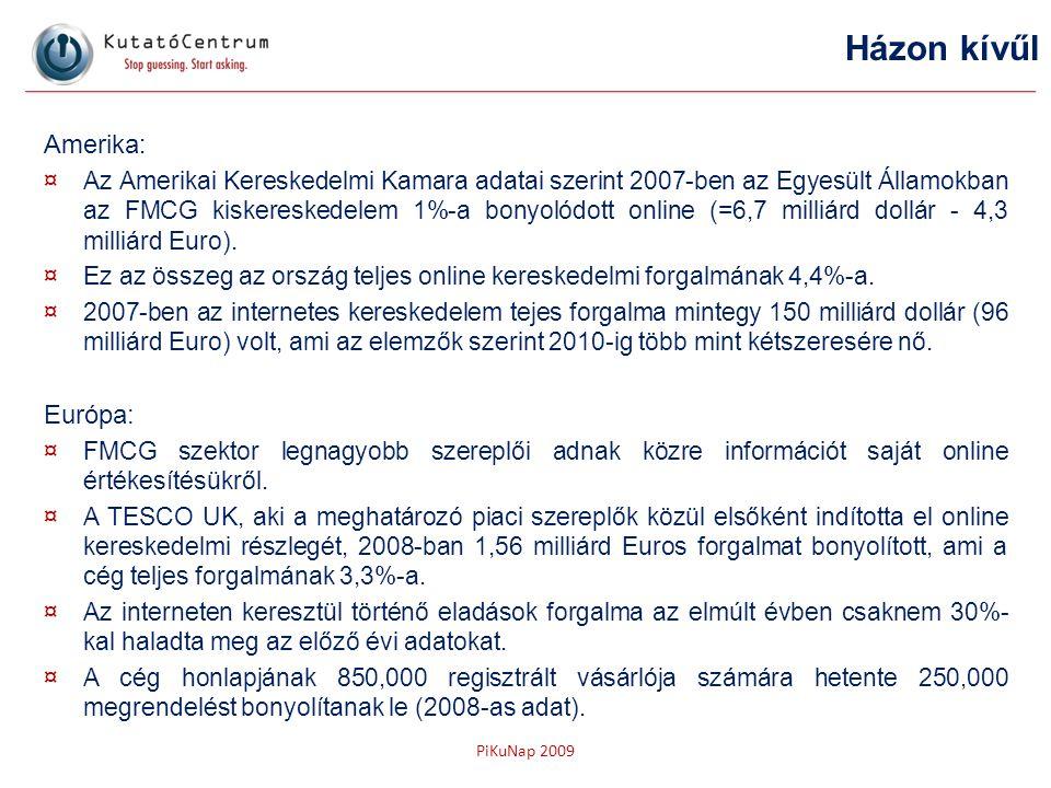PiKuNap 2009 Amerika : ¤Az Amerikai Kereskedelmi Kamara adatai szerint 2007-ben az Egyesült Államokban az FMCG kiskereskedelem 1%-a bonyolódott online