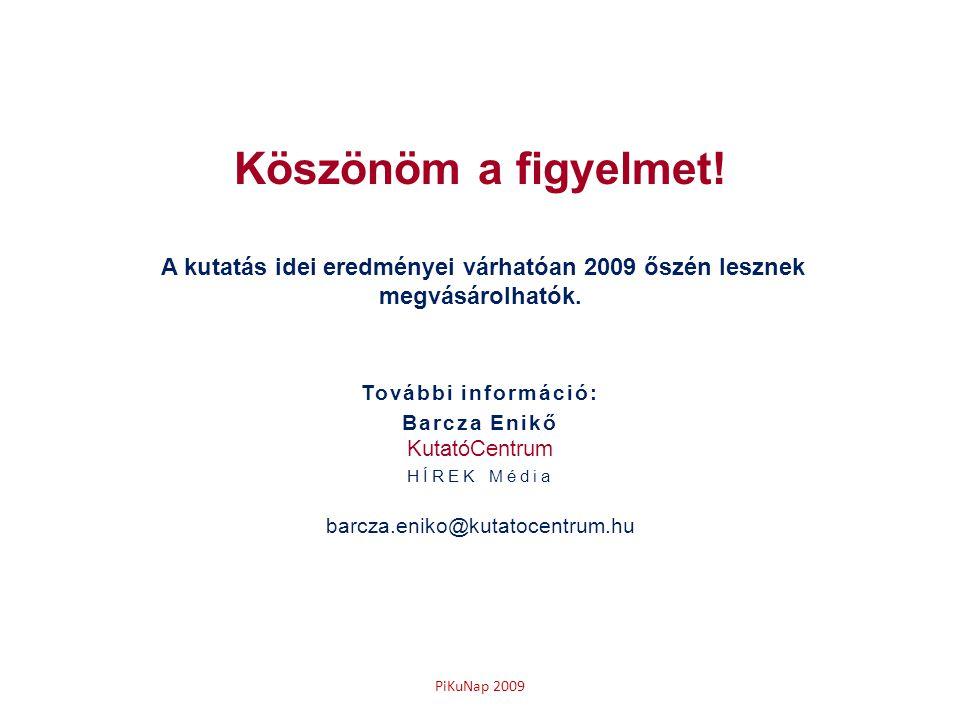 PiKuNap 2009 Köszönöm a figyelmet! A kutatás idei eredményei várhatóan 2009 őszén lesznek megvásárolhatók. További információ: Barcza Enikő KutatóCent