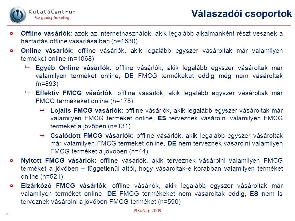 PiKuNap 2009 Válaszadói csoportok ¤Offline vásárlók: azok az internethasználók, akik legalább alkalmanként részt vesznek a háztartás offline vásárlása