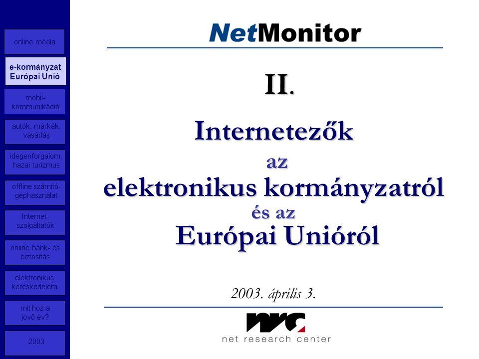 Internetezők az elektronikus kormányzatról és az Európai Unióról 2003.