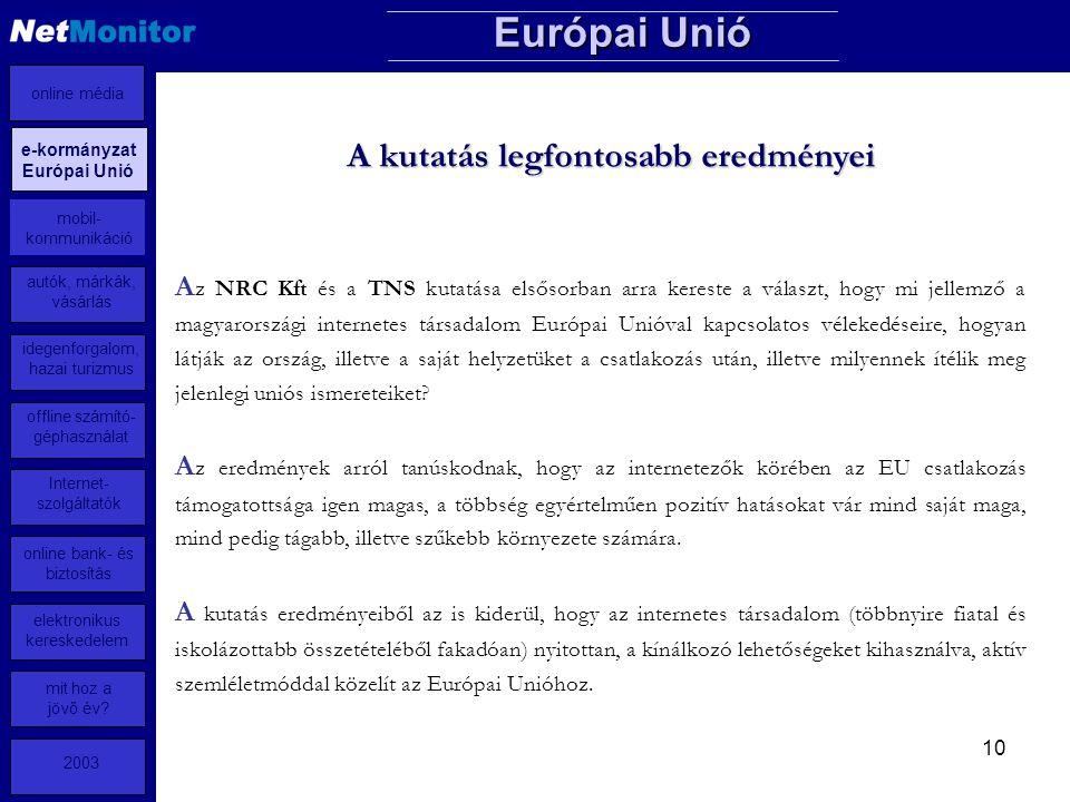 10 A z NRC Kft és a TNS kutatása elsősorban arra kereste a választ, hogy mi jellemző a magyarországi internetes társadalom Európai Unióval kapcsolatos vélekedéseire, hogyan látják az ország, illetve a saját helyzetüket a csatlakozás után, illetve milyennek ítélik meg jelenlegi uniós ismereteiket.