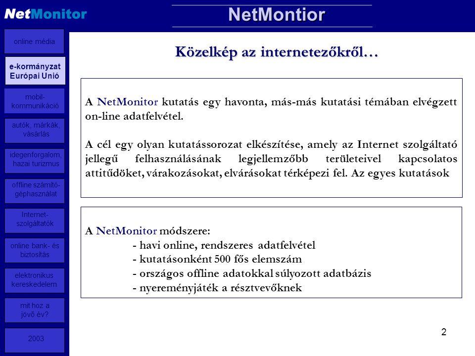 2 Közelkép az internetezőkről… A NetMonitor kutatás egy havonta, más-más kutatási témában elvégzett on-line adatfelvétel.