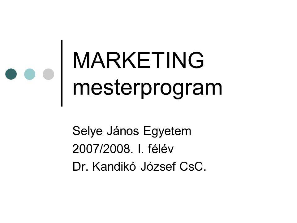 Marketingmix Termék/szolgáltatás (Product) Ár (Price) Disztribúció, forgalmazás, eladás (Place) Promóció és kommunikáció (Promotion) Ez a McCarthy féle 4 P, a marketingmix