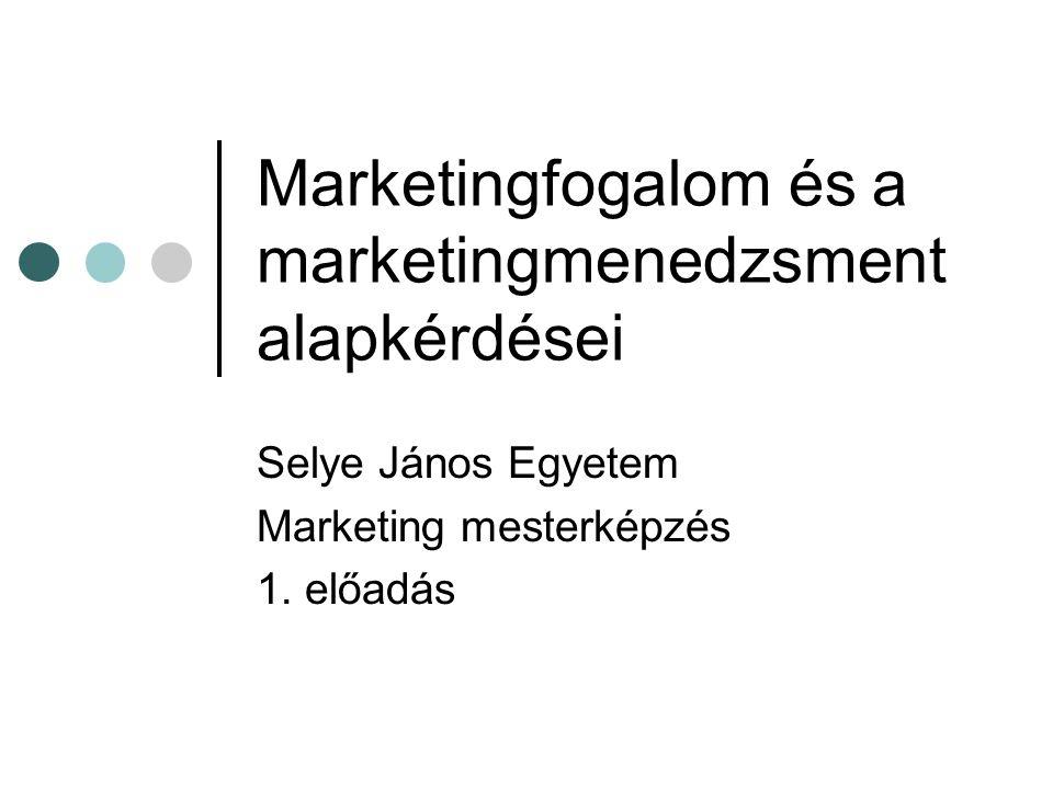 Marketingfogalom és a marketingmenedzsment alapkérdései Selye János Egyetem Marketing mesterképzés 1. előadás