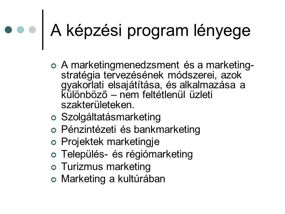 A képzési program lényege A marketingmenedzsment és a marketing- stratégia tervezésének módszerei, azok gyakorlati elsajátítása, és alkalmazása a külö