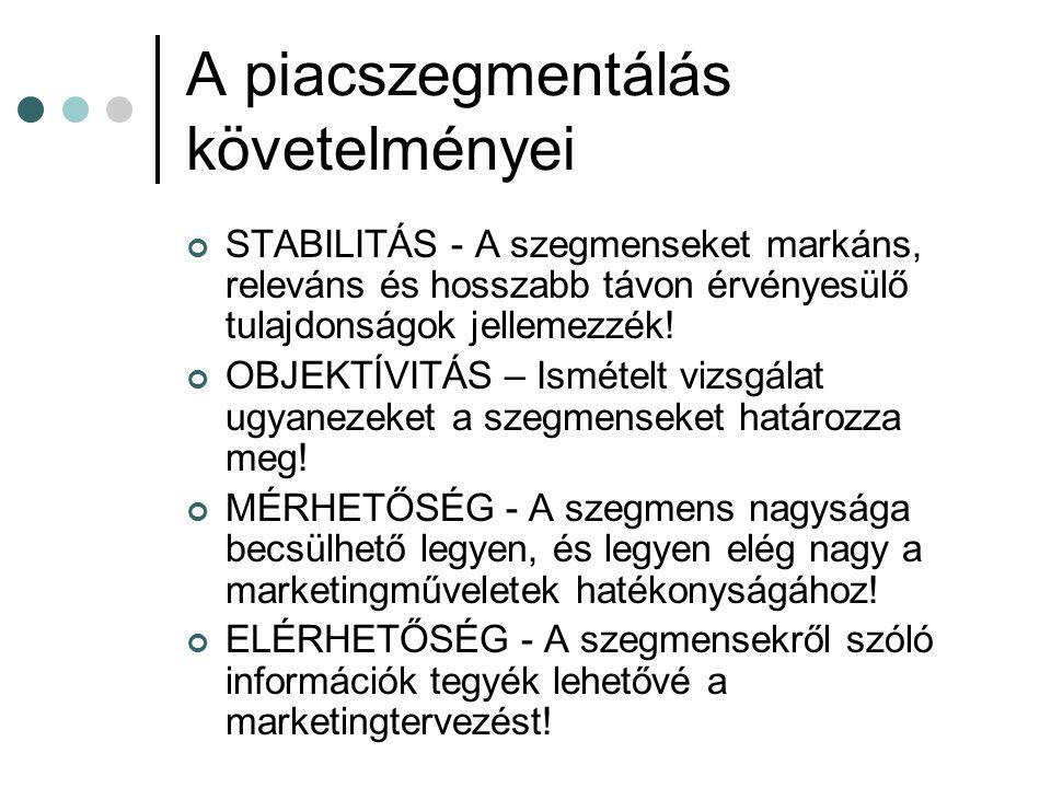 A piacszegmentálás követelményei STABILITÁS - A szegmenseket markáns, releváns és hosszabb távon érvényesülő tulajdonságok jellemezzék! OBJEKTÍVITÁS –