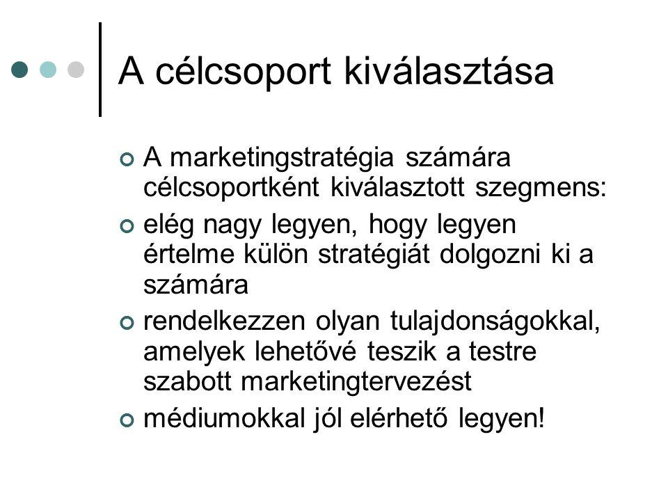 A célcsoport kiválasztása A marketingstratégia számára célcsoportként kiválasztott szegmens: elég nagy legyen, hogy legyen értelme külön stratégiát do