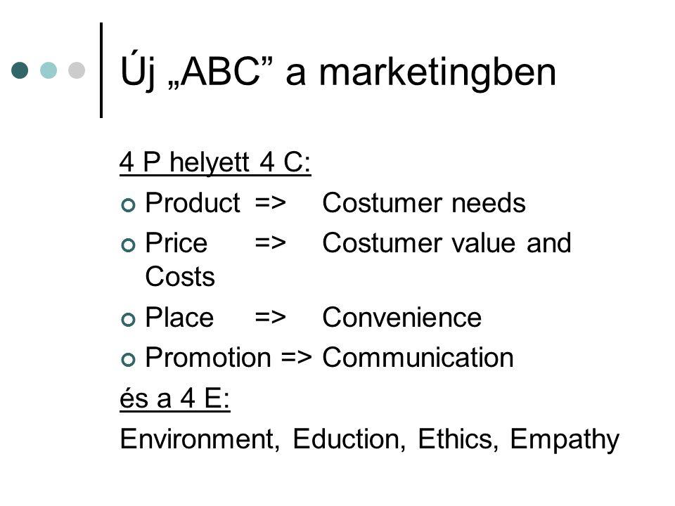 "Új ""ABC"" a marketingben 4 P helyett 4 C: Product=>Costumer needs Price=>Costumer value and Costs Place=>Convenience Promotion =>Communication és a 4 E"