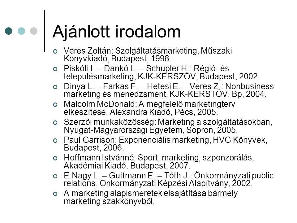 Ajánlott irodalom Veres Zoltán: Szolgáltatásmarketing, Műszaki Könyvkiadó, Budapest, 1998. Piskóti I. – Dankó L. – Schupler H.: Régió- és településmar