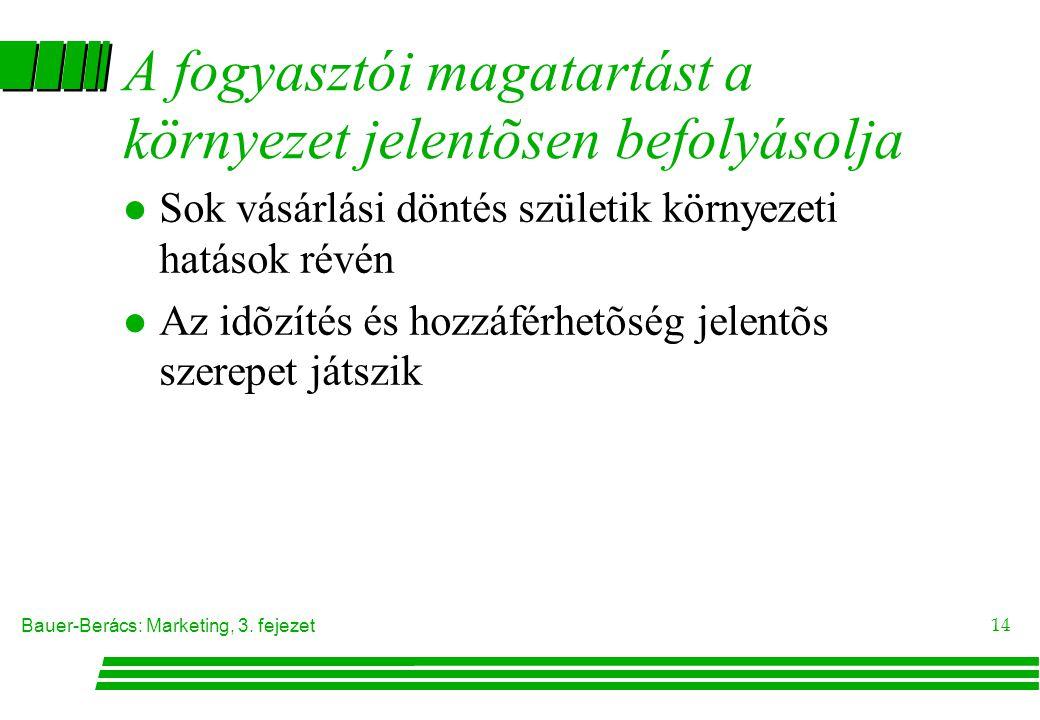 Bauer-Berács: Marketing, 3. fejezet 14 A fogyasztói magatartást a környezet jelentõsen befolyásolja l Sok vásárlási döntés születik környezeti hatások