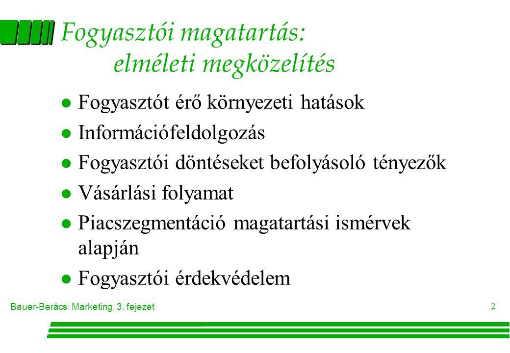Bauer-Berács: Marketing, 3. fejezet 2 Fogyasztói magatartás: elméleti megközelítés l Fogyasztót érő környezeti hatások l Információfeldolgozás l Fogya
