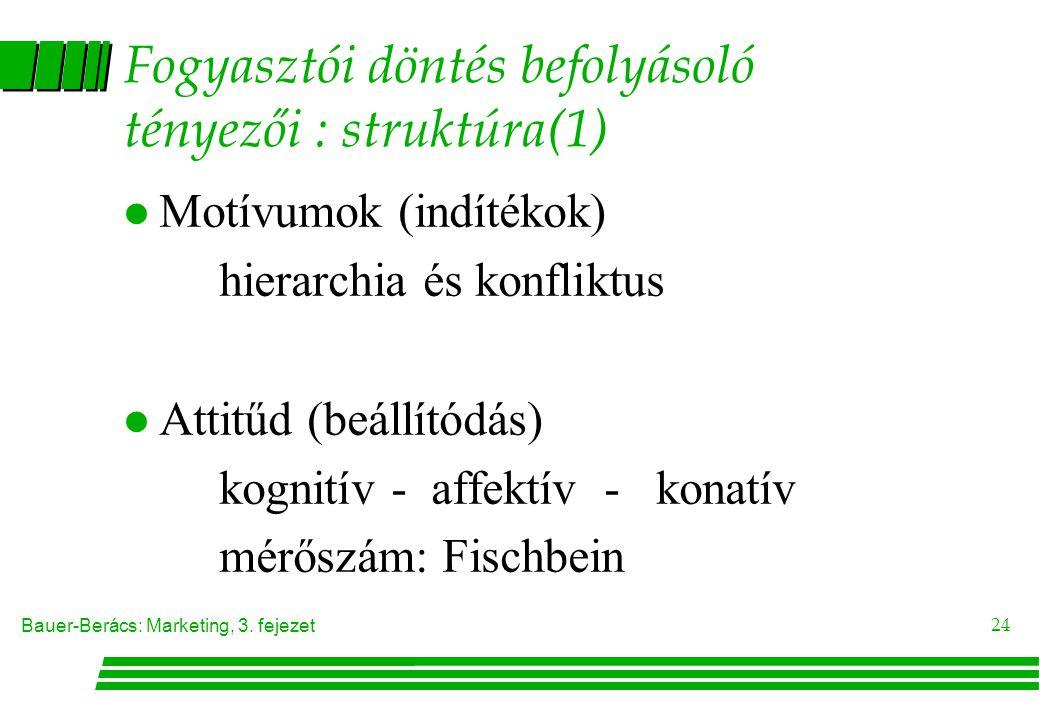 Bauer-Berács: Marketing, 3. fejezet 24 Fogyasztói döntés befolyásoló tényezői : struktúra(1) l Motívumok (indítékok) hierarchia és konfliktus l Attitű
