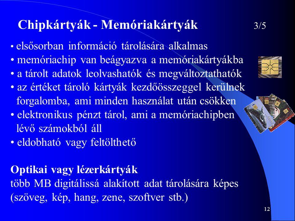 12 Chipkártyák - Memóriakártyák 3/5 • elsősorban információ tárolására alkalmas • memóriachip van beágyazva a memóriakártyákba • a tárolt adatok leolv