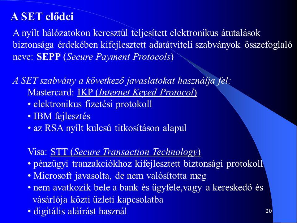 20 A SET elődei A nyílt hálózatokon keresztül teljesített elektronikus átutalások biztonsága érdekében kifejlesztett adatátviteli szabványok összefogl