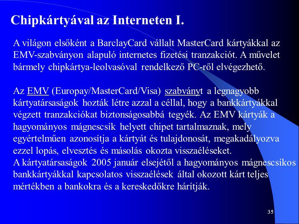 35 Chipkártyával az Interneten I. A világon elsőként a BarclayCard vállalt MasterCard kártyákkal az EMV-szabványon alapuló internetes fizetési tranzak