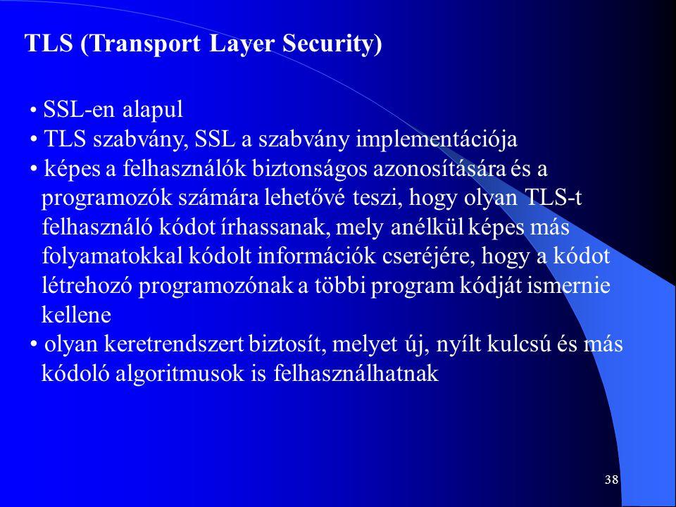 38 TLS (Transport Layer Security) • SSL-en alapul • TLS szabvány, SSL a szabvány implementációja • képes a felhasználók biztonságos azonosítására és a