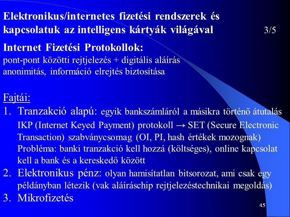45 Elektronikus/internetes fizetési rendszerek és kapcsolatuk az intelligens kártyák világával 3/5 Internet Fizetési Protokollok: pont-pont közötti re