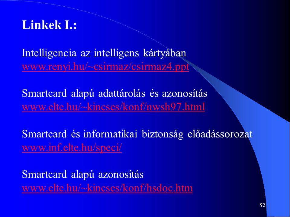 52 Linkek I.: Intelligencia az intelligens kártyában www.renyi.hu/~csirmaz/csirmaz4.ppt Smartcard alapú adattárolás és azonosítás www.elte.hu/~kincses