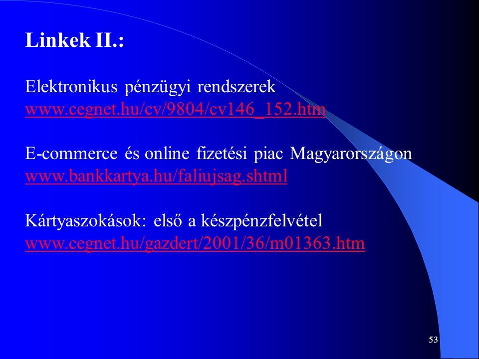 53 Linkek II.: Elektronikus pénzügyi rendszerek www.cegnet.hu/cv/9804/cv146_152.htm E-commerce és online fizetési piac Magyarországon www.bankkartya.h