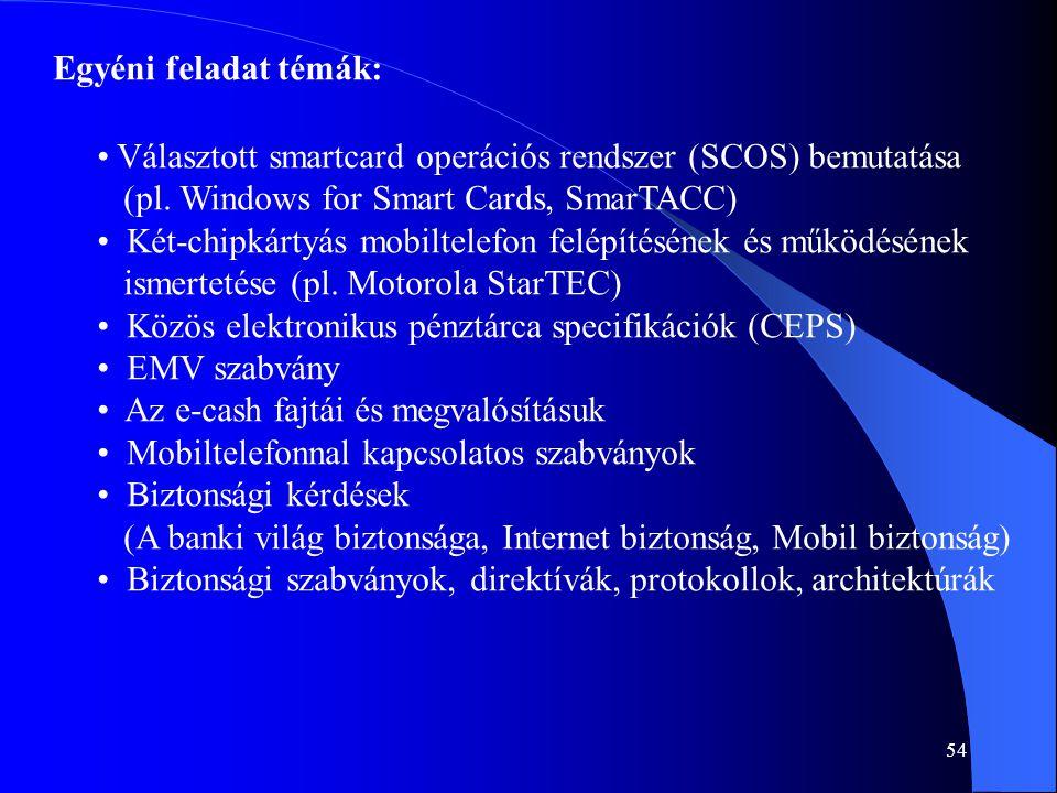 54 Egyéni feladat témák: • Választott smartcard operációs rendszer (SCOS) bemutatása (pl. Windows for Smart Cards, SmarTACC) • Két-chipkártyás mobilte