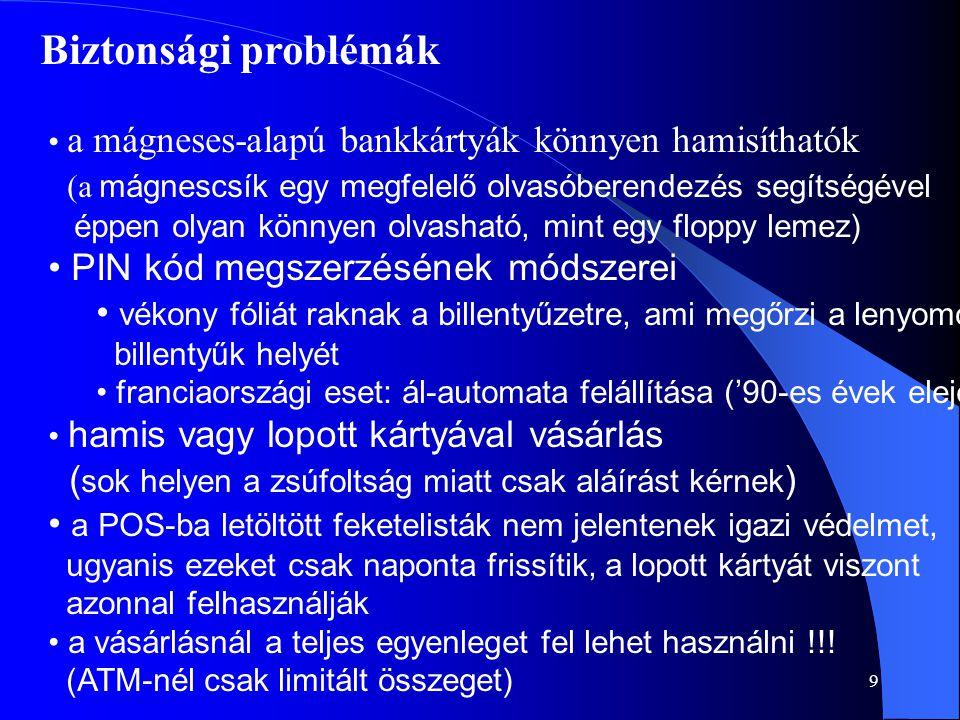 9 Biztonsági problémák • a mágneses-alapú bankkártyák könnyen hamisíthatók (a mágnescsík egy megfelelő olvasóberendezés segítségével éppen olyan könny