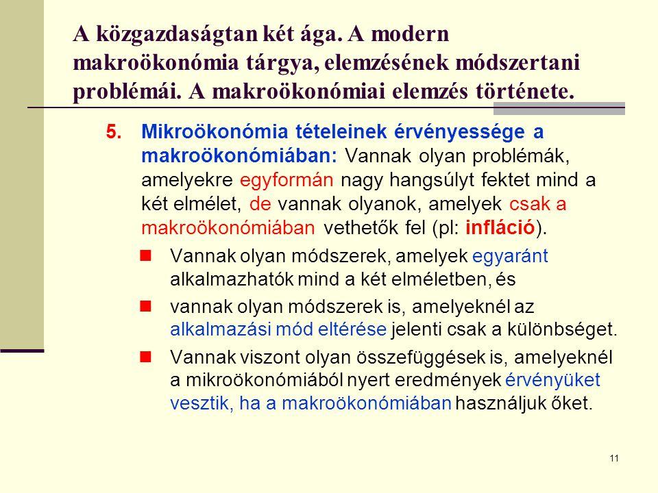 11 A közgazdaságtan két ága. A modern makroökonómia tárgya, elemzésének módszertani problémái. A makroökonómiai elemzés története. 5.Mikroökonómia tét