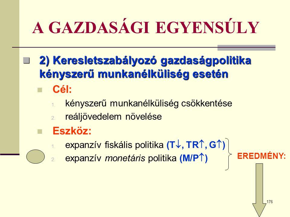 176 A GAZDASÁGI EGYENSÚLY  2) Keresletszabályozó gazdaságpolitika kényszerű munkanélküliség esetén  Cél: 1. kényszerű munkanélküliség csökkentése 2.