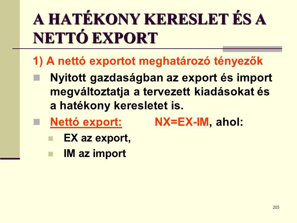 205 A HATÉKONY KERESLET ÉS A NETTÓ EXPORT 1) A nettó exportot meghatározó tényezők  Nyitott gazdaságban az export és import megváltoztatja a tervezet