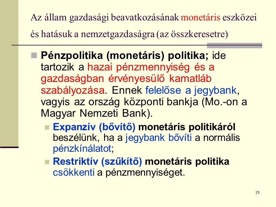 29 Az állam gazdasági beavatkozásának monetáris eszközei és hatásuk a nemzetgazdaságra (az összkeresetre)  Pénzpolitika (monetáris) politika  Pénzpo