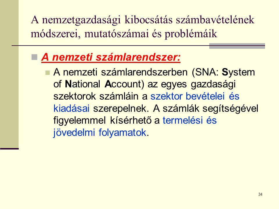 34 A nemzetgazdasági kibocsátás számbavételének módszerei, mutatószámai és problémáik  A nemzeti számlarendszer: S NA  A nemzeti számlarendszerben (