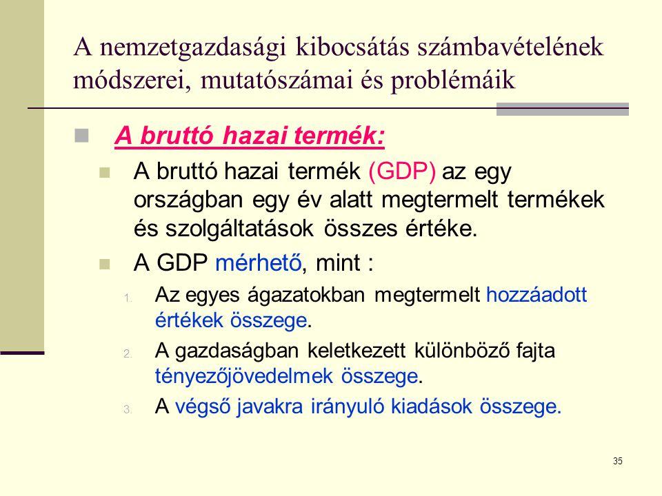 35 A nemzetgazdasági kibocsátás számbavételének módszerei, mutatószámai és problémáik  A bruttó hazai termék:  A bruttó hazai termék (GDP) az egy or