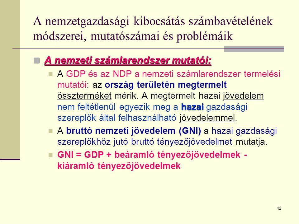 42 A nemzetgazdasági kibocsátás számbavételének módszerei, mutatószámai és problémáik  A nemzeti számlarendszer mutatói: hazai  A GDP és az NDP a ne