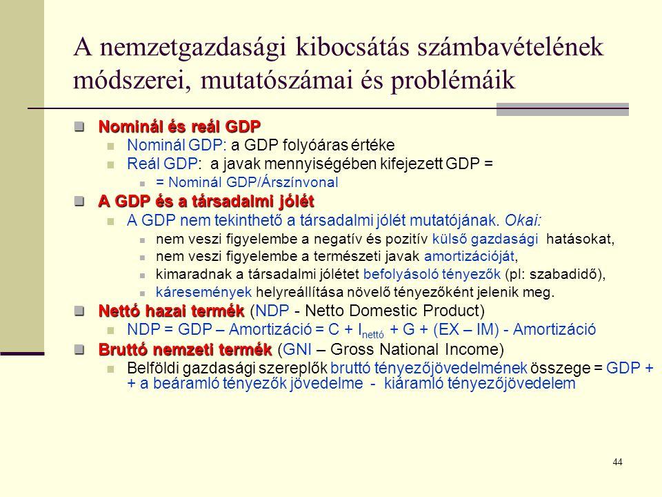 44 A nemzetgazdasági kibocsátás számbavételének módszerei, mutatószámai és problémáik  Nominál és reál GDP  Nominál GDP: a GDP folyóáras értéke  Re