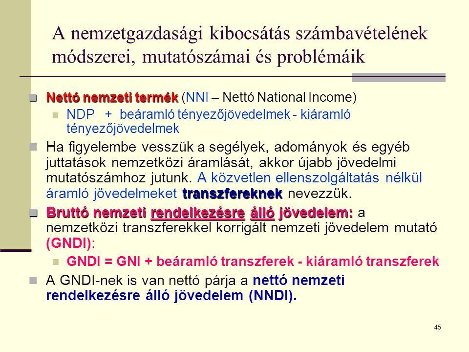 45 A nemzetgazdasági kibocsátás számbavételének módszerei, mutatószámai és problémáik  Nettó nemzeti termék  Nettó nemzeti termék (NNI – Nettó Natio