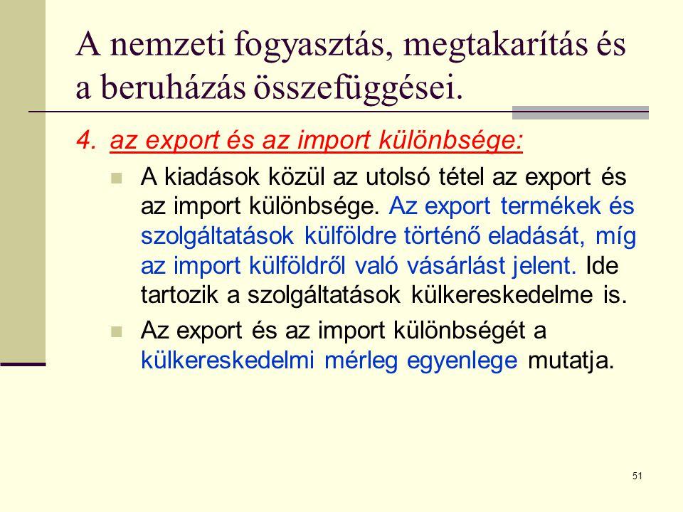 51 A nemzeti fogyasztás, megtakarítás és a beruházás összefüggései. 4.az export és az import különbsége:  A kiadások közül az utolsó tétel az export