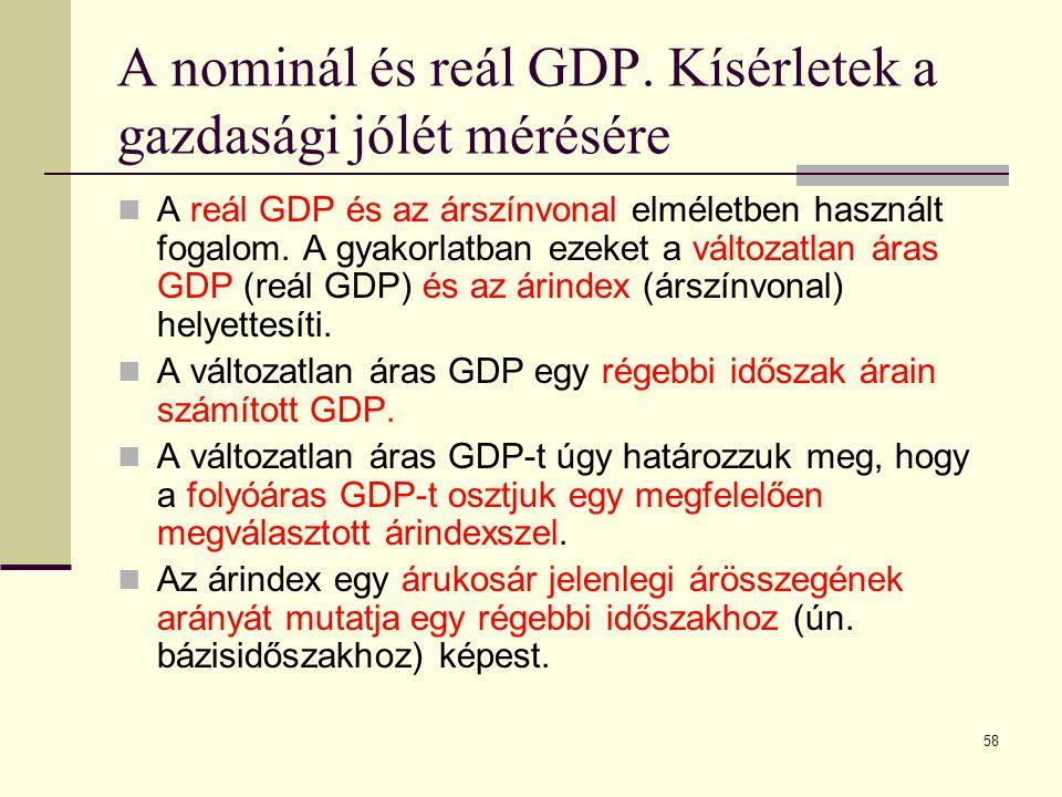 58 A nominál és reál GDP. Kísérletek a gazdasági jólét mérésére  A reál GDP és az árszínvonal elméletben használt fogalom. A gyakorlatban ezeket a vá
