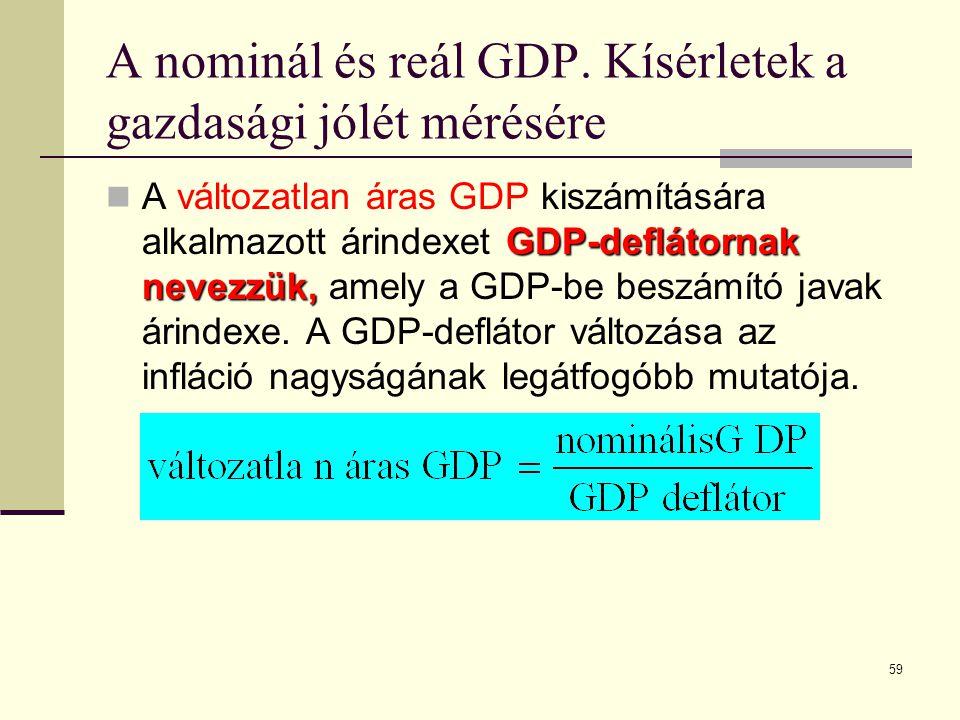59 A nominál és reál GDP. Kísérletek a gazdasági jólét mérésére GDP-deflátornak nevezzük,  A változatlan áras GDP kiszámítására alkalmazott árindexet