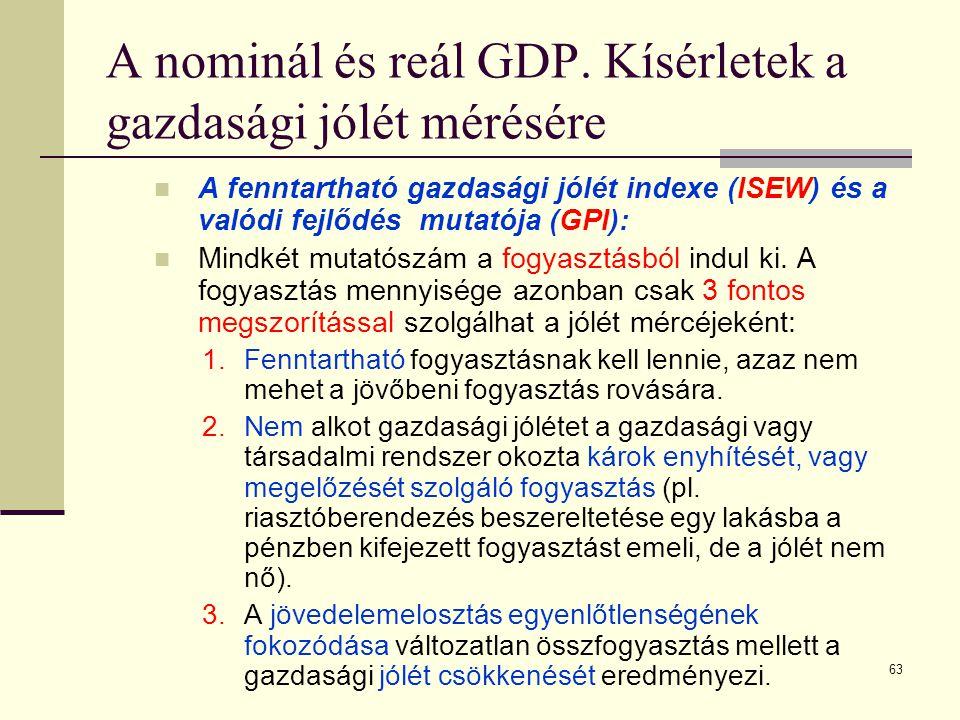 63 A nominál és reál GDP. Kísérletek a gazdasági jólét mérésére  A fenntartható gazdasági jólét indexe (ISEW) és a valódi fejlődés mutatója (GPI): 