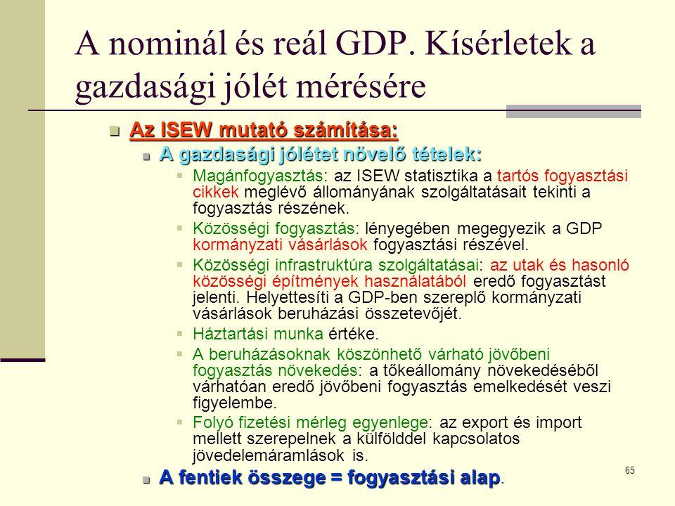 65 A nominál és reál GDP. Kísérletek a gazdasági jólét mérésére  Az ISEW mutató számítása:  A gazdasági jólétet növelő tételek:  Magánfogyasztás: a