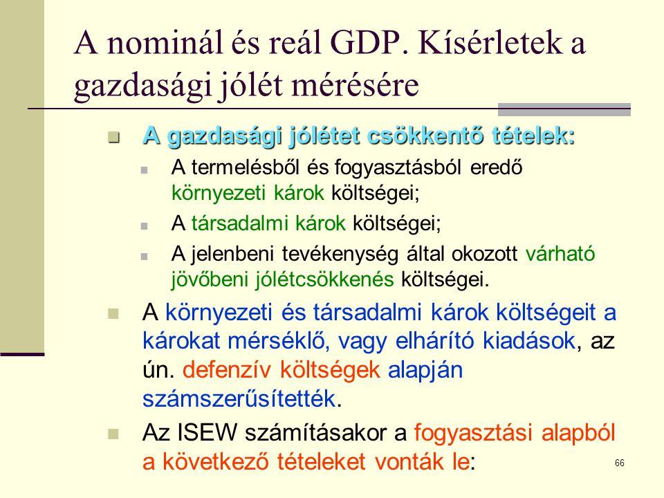66 A nominál és reál GDP. Kísérletek a gazdasági jólét mérésére  A gazdasági jólétet csökkentő tételek:  A termelésből és fogyasztásból eredő környe