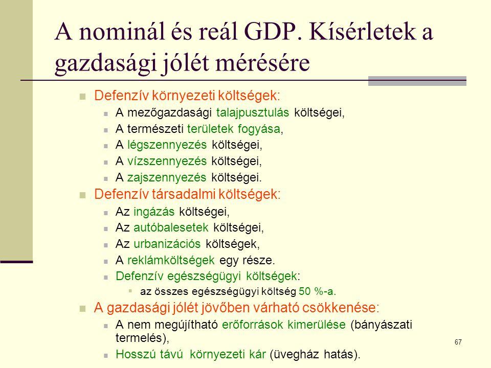 67 A nominál és reál GDP. Kísérletek a gazdasági jólét mérésére  Defenzív környezeti költségek:  A mezőgazdasági talajpusztulás költségei,  A termé