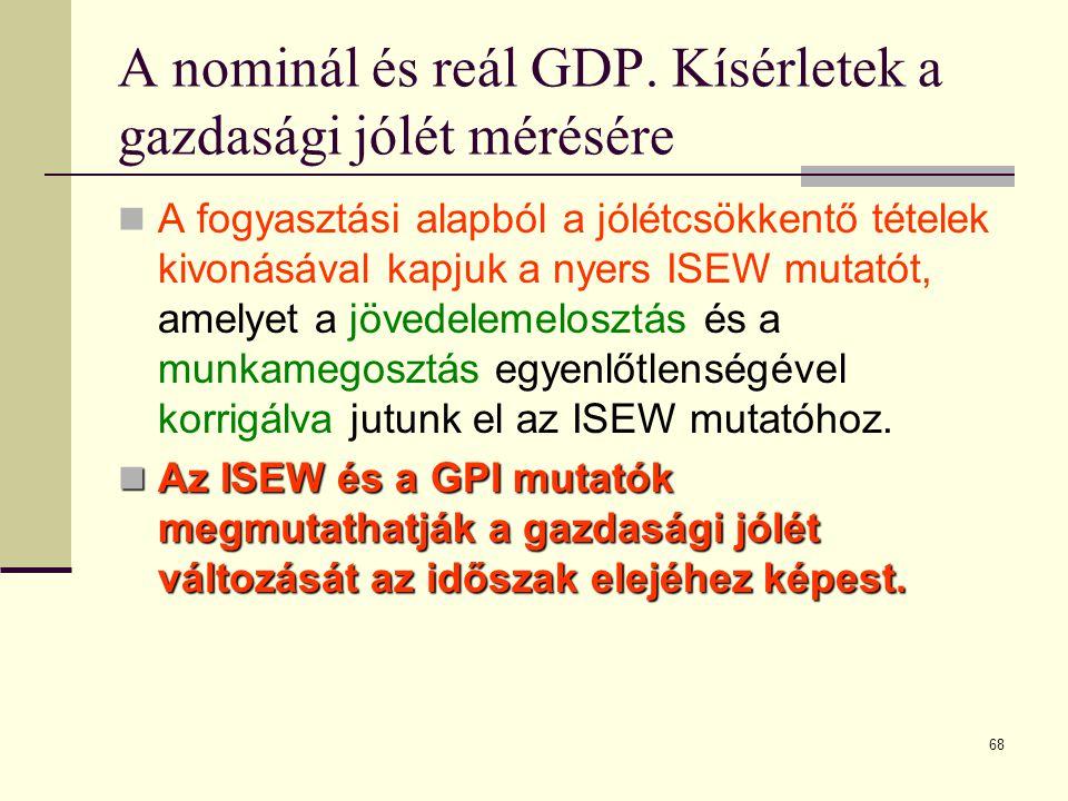 68 A nominál és reál GDP. Kísérletek a gazdasági jólét mérésére  A fogyasztási alapból a jólétcsökkentő tételek kivonásával kapjuk a nyers ISEW mutat