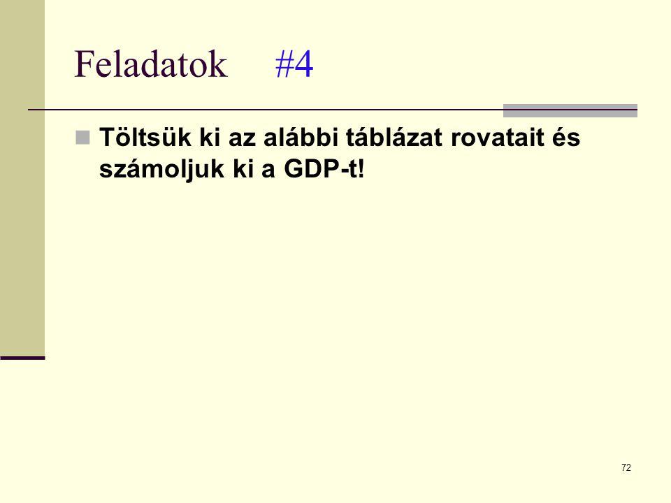 72 Feladatok#4  Töltsük ki az alábbi táblázat rovatait és számoljuk ki a GDP-t!
