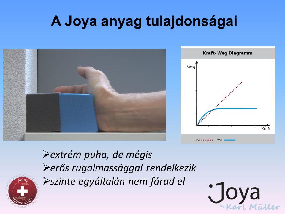 A Joya anyag tulajdonságai  extrém puha, de mégis  erős rugalmassággal rendelkezik  szinte egyáltalán nem fárad el