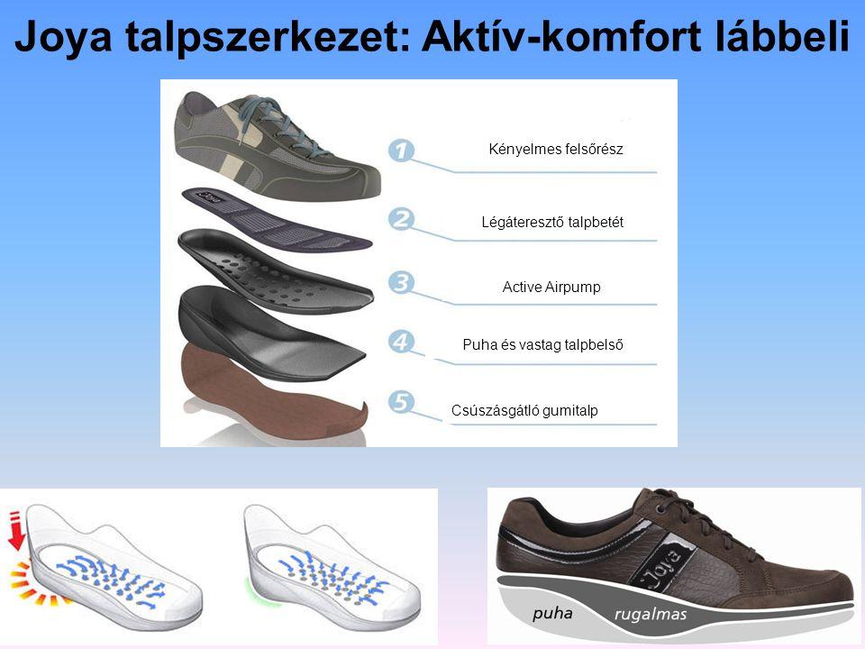 Joya talpszerkezet: Aktív-komfort lábbeli Csúszásgátló gumitalp Puha és vastag talpbelső Active Airpump Légáteresztő talpbetét Kényelmes felsőrész