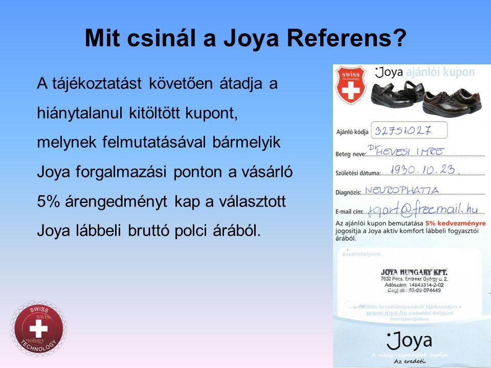 Mit csinál a Joya Referens? A tájékoztatást követően átadja a hiánytalanul kitöltött kupont, melynek felmutatásával bármelyik Joya forgalmazási ponton